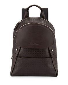 Gamma Men\'s Soft Backpack, Dark Brown  by Salvatore Ferragamo at Neiman Marcus.