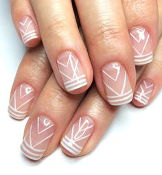 Gorgeous White Line Designs Over Neutral Color #NailDesigns #LineNailDesigns #2017Nails
