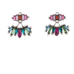 DANNIJO Laritza (1.380 BRL) ❤ liked on Polyvore featuring jewelry, earrings, swarovski crystal jewelry, tribal earrings, dannijo, tribal jewelry and swarovski crystal earrings