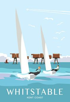 Art picture, Sailing back to Whitstable from the Mounsell Second World War Sea Forts in the Thames Estuary England Travel Poster, Party Vintage, Whitstable Kent, Sailing Theme, Minimal Travel, Kent Coast, City Sketch, Vintage Travel Posters, Retro Posters