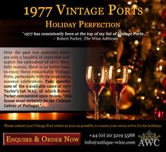 1977 Vintage Ports - Holiday Perfection - The Antique Wine Company (AWC)