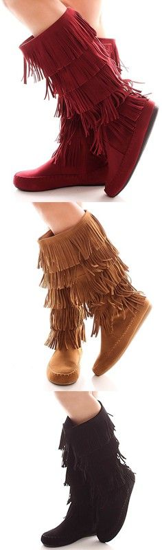 Fringe boots is one of the fashion trends this year.Have these boots,you will have a good day.This boots has fringe design,a inner zipper,a faux suede material and a moccasin boot style.Get it from LolliCouture.