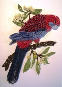 Crimson Rosella, Australian Bird - quilled by: Christine Donahue - www.intocraft.com.au/2013/06/the-art-of-paper-filigree/