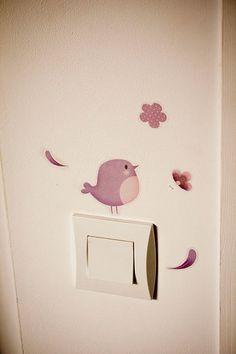 Sticker oiseau sur interrupteur