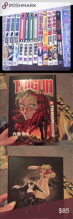 Manga lot/ bundle of 14!!!! 14 manga volumes! Attack on Titan junior high volume 3 Cirque du freak vol 1 special scholastic edition  Yugioh volumes 21 and 22 Megaman volume 13 Rurouni Kenshin volume 10 Trigun volume 1,2,3, and 11 (YOU GET TWO VOLUME ONES, ONE OF THEM IS HARD COVER) Yuyu hakusho volumes 8,9, and 10  Please feel free to check out my other items  BUNDLES WELCOME. ALSO SELLING ON MERC Other
