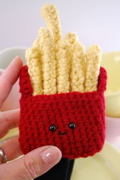 crocheted french fries that you can wear as a headband. @Katja Raddatz. I think this will compliment your hair quite nicely!(: