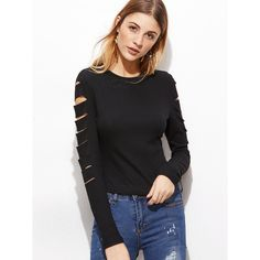 SheIn(sheinside) Black Ripped Sleeve Ribbed Knit T-shirt ($9.99) ❤ liked on Polyvore featuring tops, t-shirts, round neck t shirt, longsleeve tee, long sleeve stretch tee, distressed t shirt and long sleeve tops