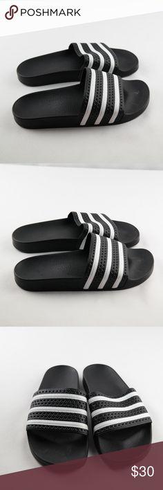 f6a115dc0 Adidas Adilette Slide Sandals Sz 9 Adidas Adilette Slide Sandals Mens Sz 9  Black White Rubber