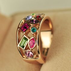 Colorful Gem Austrian Crystal Zirconia 18k Gold Plated Filled Wide #ring Punk  #jewelry ...