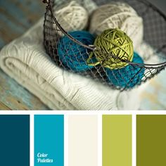 Freshness and naturalness define the concept of this palette. White colour has become a kind of referee between the bright turquoise and restrained olive g.