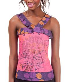 Take a look at this Purple & Pink Fontella Sleeveless Top by Missing Johnny on #zulily today!