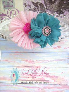 SALE Pink Teal Baby Girls Flower Headbands, Infant Hair Bows Clips, Newborn Photo Prop