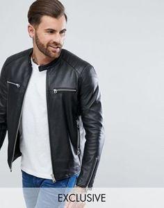 Replay Leather Biker Jacket Black