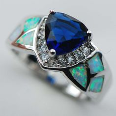 Elxidor Sterling Silver Plated Rings Sapphire simulated