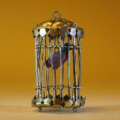 """Antique dolls house accessory Erhard Sohne , Puppenstuben zubehor vogelbauer. Lovely Dolls House bird cage & bird. 2"""" high."""