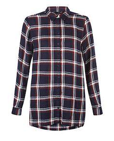 Navy Check Dip Hem Long Sleeve Shirt  | New Look