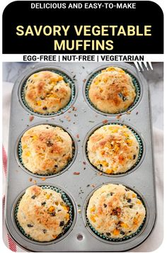 Best Breakfast Recipes, Savory Breakfast, Breakfast Muffins, Breakfast Casserole, Egg Free Muffins, Pizza Muffins, Eggless Muffins, Eggless Baking, Savoury Vegetable Muffins