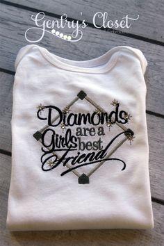 Baby Girl Baseball Onesie or Shirt. Toddler, Child. Embroidered Baseball Shirt with Bling. Handmade on Etsy, $24.00