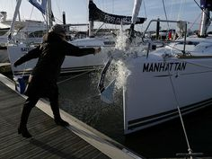 Begonia Tulloch cracks a bottle of champagne and names one of our new yachts Manhattan Naming Ceremony, Champagne Bottles, First Class, Begonia, Southampton, Yachts, Picture Show, Manhattan, Boats