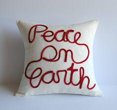 One handmade linen Christmas pillow cover, cushion, 18x18, decorative throw pillow, decorative pillow, Christmas pillow ThatDutchGirlPillows on Etsy
