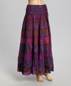 Love this Purple Patchwork Maxi Skirt by The OM Company on #zulily! #zulilyfinds