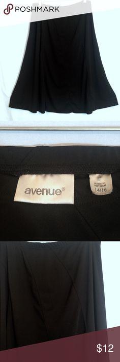 "🆕 AVENUE BLACK MIDI A-LINE SKIRT Avenue black midi a-line knee length skirt, diagonal panel detail, 100% polyester, elastic waist, EUC, size 14/16. Measurements: waist 17"", waist to hem 28 1/2"". Avenue Skirts Midi"