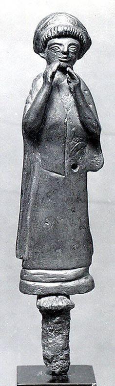 ca. 1500–1100 BCE. Bronze votive Female Worshiper firgurine. Middle Elamite Iran, possibly from Susa.