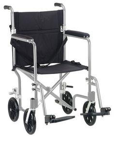 "Flyweight Lightweight Folding Transport Wheelchair, 19"", Silver Frame, Black Upholstery"