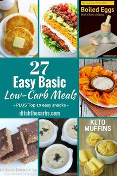 An amazing collection of the best easy basic low-carb meals. Breakfast, lunch, dinners and snacks. This certainly helps make day to day low-carb easier. | ditchthecarbs.com via @ditchthecarbs
