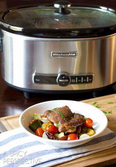 Slow Cooker Moroccan Chicken + slow cooker GIVEAWAY! | ASpicyPerspective.com #slowcooker #crockpot
