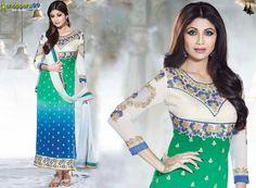Beautiful #ShilpaShetty Green #AnarkaliSuit with new designs Buy Now:- http://www.shoppers99.com/malaika_arora_khan_pakistani_suits/shilpa_shetty_green_anarkali_suit_t-792-1246