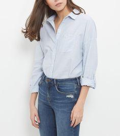 Blue Textured Single Pocket Drop Arm Roll Sleeve Shirt  | New Look