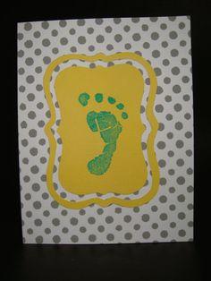 baby boy footprint card by JellybeanArtCards on Etsy