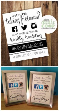 Wediquette and Parties: Supercharged Weddings. Facebook, Twitter & Instagram sign for wedding.