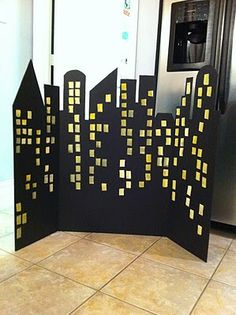 cute simple backdrop for superhero party from a trifold foam display