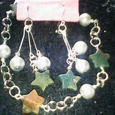 Handmade jade and silver pearl link bracelet set Silver linked multi colored jade stars and silver glass bead Bracelet with matching earrings. Jewelry Bracelets