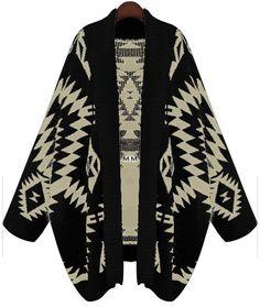Black Batwing Long Sleeve Geometric Cardigan Sweater -