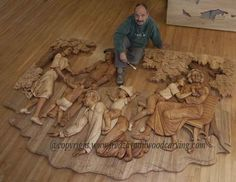 High relief carving from basswood and elm by Fred Zavadi, master wood carver & sculptor from Ontario, Canada (born in former Czechoslovakia). Absolutely stunning work!
