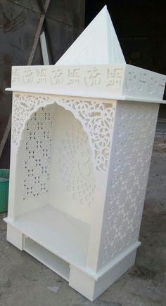 Temple design for home Mandir . Pooja Room Door Design, Home Room Design, House Design, Temple Design For Home, Home Temple, Thermocol Craft, Jaali Design, Mandir Design, Prayer Corner