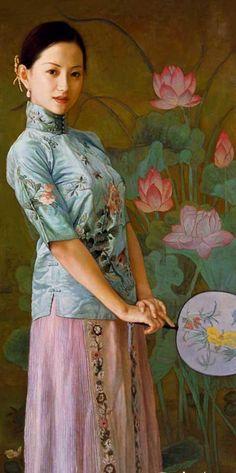 陈逸鸣油画作品:仕女系列-2 - 闻歌  2001年作 作品尺寸:127*61cm