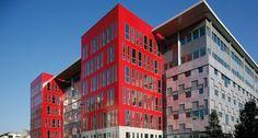 Le Petra, Ivry Sur Seine France. Facade by NBK™ a #Hunter Douglas Company.  #architecture #red