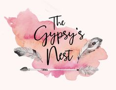 Logo Design by H Create! The Gypsy's Nest. Bohemian... Hampton... Eclectic... Luxury... for a brand dedicated to creating beautiful spaces. Use of feathers, watercolours and a free-flowing handmade script font.