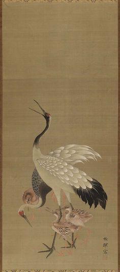 'Storks' (19th century). Ink and colour on silk by Okamoto Shûki (1807(?)–1862).