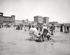 "Beach Baby: The Jersey Shore circa 1910. ""On the beach at Atlantic City."" 8x10 inch dry plate glass negative, Detroit Publishing Company. Click to view full size."