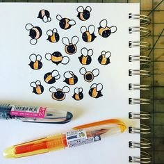Quick little colony before I dive back into more technical client drawings. (@1stofthehousepancake / @therewillbecakeinvites gave me there adorable pens and I loooove them) #swarmsofthings #bumblebee #sketchbook #pilotpen