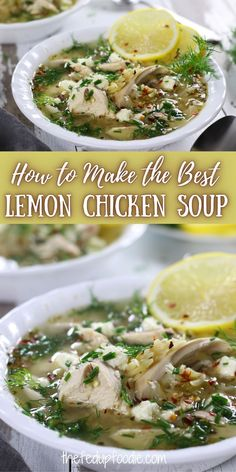 This homemade Lemon Chicken Soup is easy to make and has amazing lemon flavor because of the lemon peel. It is extremely hard to have just one bowl. #LemonChickenSoup #LemonChickenOrzoSoup #ChickenSoupRecipesHomemade #LemonChickenSoupRecipes #LemonChickenSoupWithOrzo Lemon Chicken Orzo Soup, Chicken Soup Recipes, Meat Recipes, Fall Recipes, Real Food Recipes, Crockpot Recipes, Pork And Beef Recipe, Organic Recipes, Ethnic Recipes