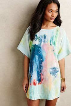 Painted Silk Tunic Dress - anthropologie.com