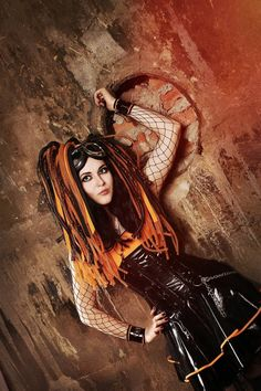 Orange cybergoth by mysteria-violent on DeviantArt Goth Boy, Punk Goth, Steampunk Clothing, Steampunk Fashion, Gothic Steampunk, Victorian Gothic, Gothic Fashion, Gothic Girls, Gothic Lolita