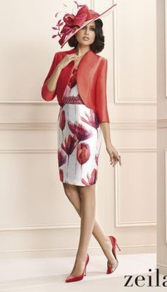 Zeila red fuchsia floral Mother of the Bride / Groom dress and bolero jacket…