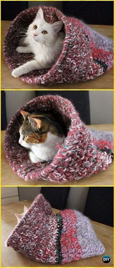 Crochet Cat cave Free Pattern - Crochet Cat House Patterns #cathousehandmade